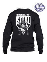 who's on first thou shalt not steal long sleeve shirt black