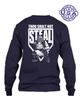 who's on first thou shalt not steal long sleeve shirt navy
