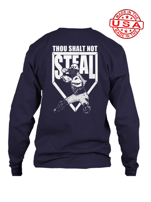 who's on first thou shalt not steal softball long sleeve navy