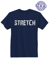 who's on first, stretch unisex t-shirt made in usa navy