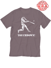 who's on first baseball touchdown t-shirt asphalt made in the usa
