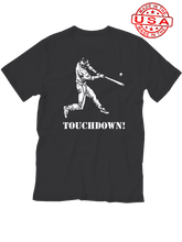 who's on first baseball touchdown t-shirt black made in the usa