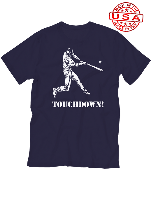 who's on first baseball touchdown t-shirt navy made in the usa