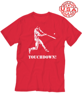 who's on first baseball touchdown t-shirt red made in the usa