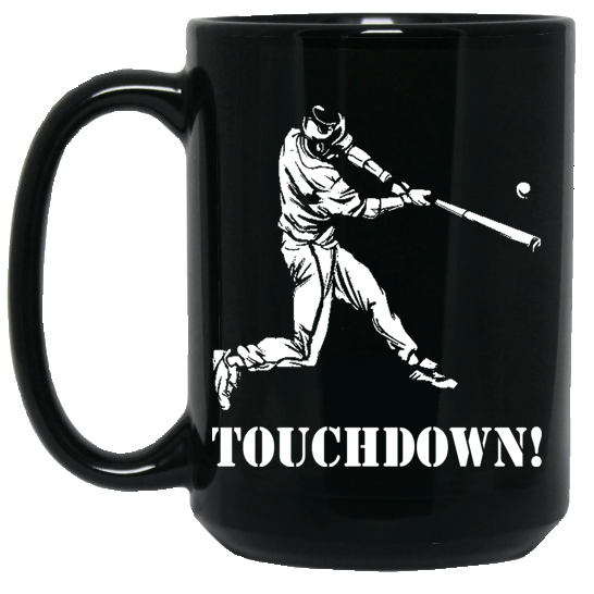 who's on first baseball touchdown 15oz coffee mug black