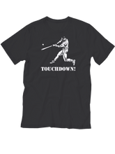 who's on first baseball youth touchdown t-shirt black lefty