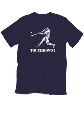 who's on first baseball youth touchdown t-shirt navy lefty