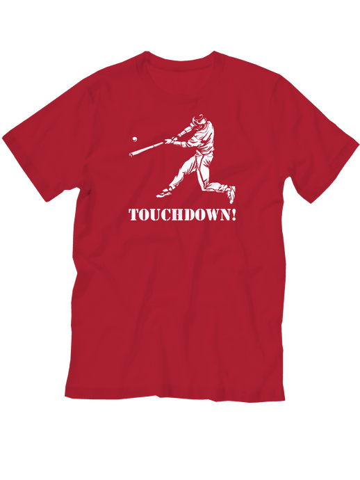 who's on first baseball touchdown youth t-shirt red lefty