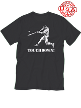 who's on first baseball touchdown t-shirt black lefty made in the usa