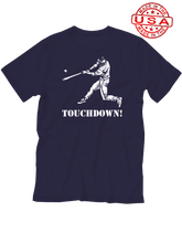 who's on first baseball touchdown t-shirt navy lefty made in the usa