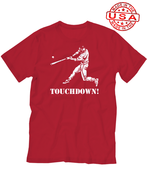 who's on first baseball touchdown t-shirt red lefty made in the usa