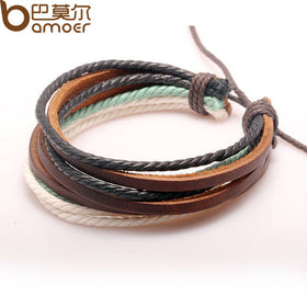 Braided Bracelet- Hemp Rope and Leather for Men and Women