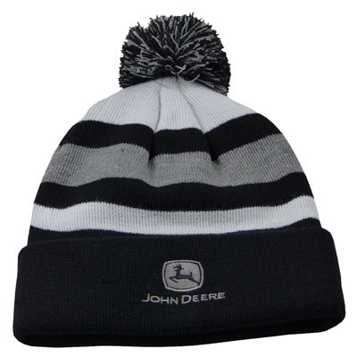 BLACK-GRAY-WHITE KNIT HAT POMPOM LP67291