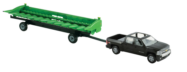 1/16 BIG FARM JOHN DEERE CHEVY PICK UP W/612C CORN HEAD & HEADER CART