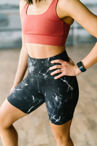 Biker Shorts - 6''- Black Marble | MT SPORT-Shorts-Maven Thread