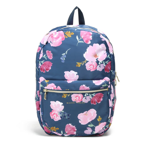 Classic Backpack - Navy Floral-Backpack-Maven Thread
