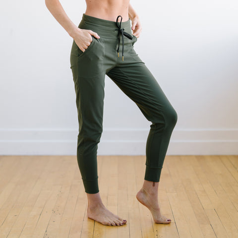 Warmup Joggers - Olive Green | MT LUXE-Jogger-Maven Thread