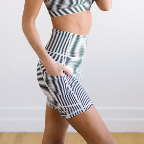 Biker Shorts - 6''- B&W Stripe | MT SPORT - Shorts - Maven Thread