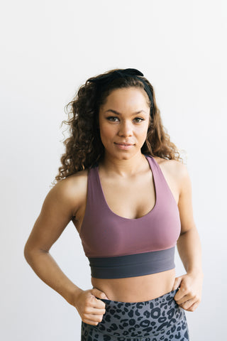 Criss Cross Sports Bra - Muted Plum / Grey | MT LUXE - Sports Bra - Maven Thread