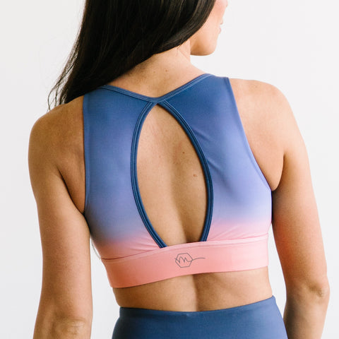 Balance Sports Bra - Peach/Blue Ombre | MT SPORT-Sports Bra-Maven Thread