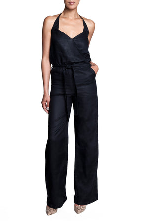 Women's linen jumpsuit, halter neck, self tie belt, navy