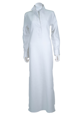Women's linen dress, kaftan, caftan, white, long white dress, long sleeve, button cuff, button placket, side slit