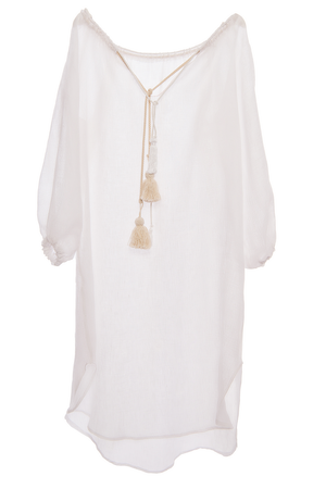 Crete Sheer Peasant Dress