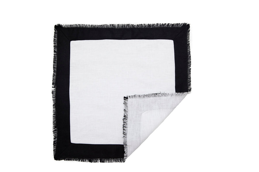 Dinner Napkin - White/Black