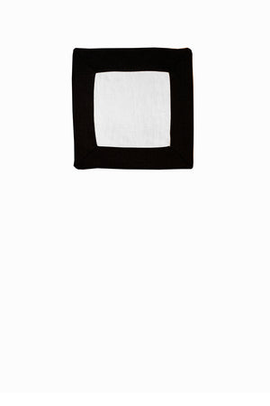Set of 4 Contrast Border Cocktail Napkin Black/White