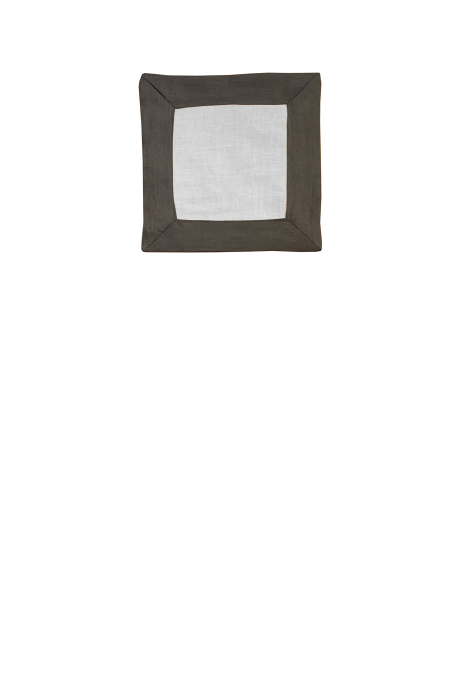 Set of 4 Contrast Border Cocktail Napkin Grey/White