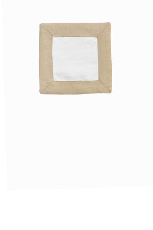 Set of 4 Contrast Border Cocktail Napkin Oatmeal/White