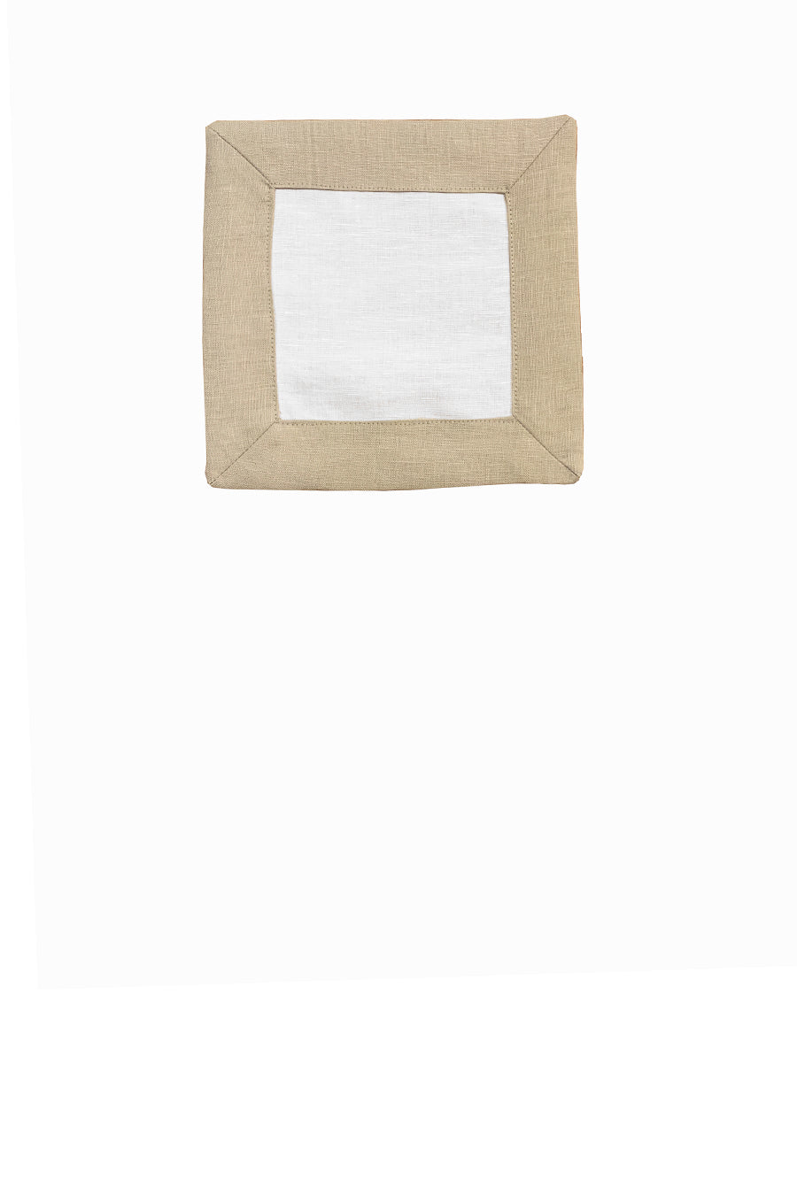 Contrast Border Cocktail Napkin Oatmeal/White
