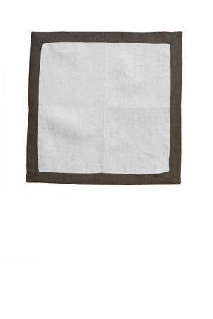 Set of 4 Contrast Border Dinner Napkin Grey/White