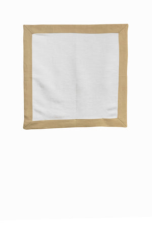 Set of 4 Contrast Border Dinner Napkin Oatmeal/White