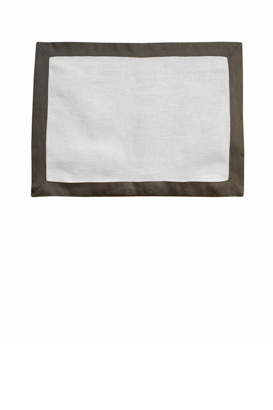 Set of 4 Contrast Border Placemat Grey/White