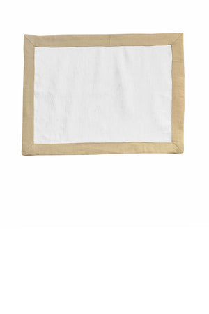 Set of 4 Contrast Border Placemat Oatmeal/White