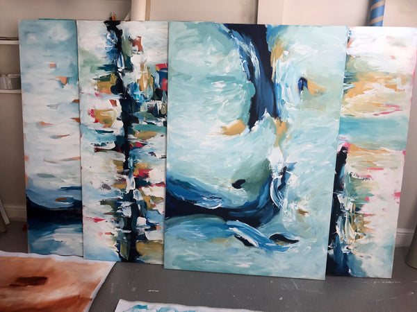 Original paintings at the studio - Omar Obaid London Artist