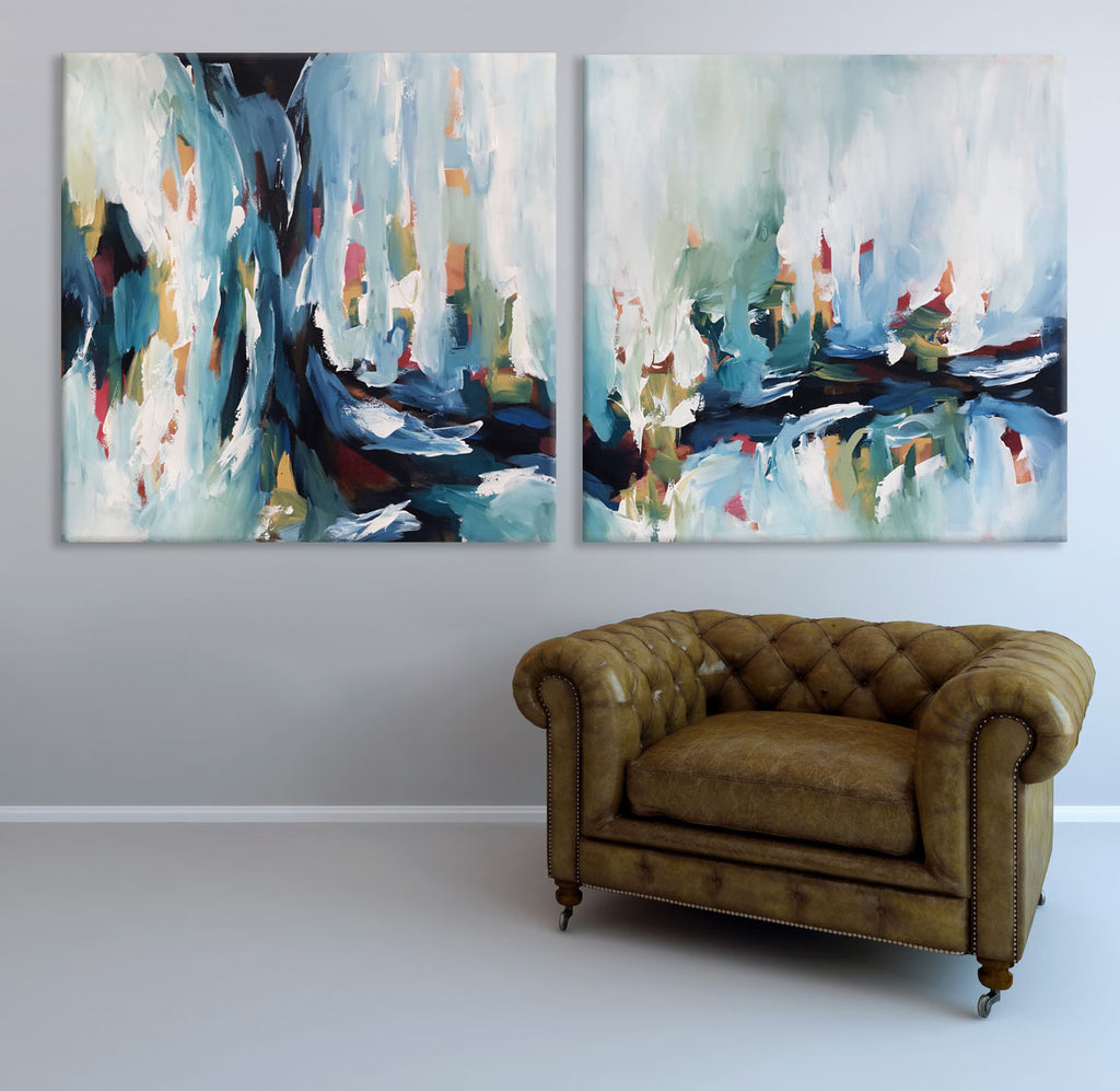 Daybreak 2 Original Abstract Painting Diptych by Omar Obaid