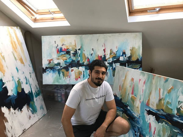 Omar Obaid Artist at the studio