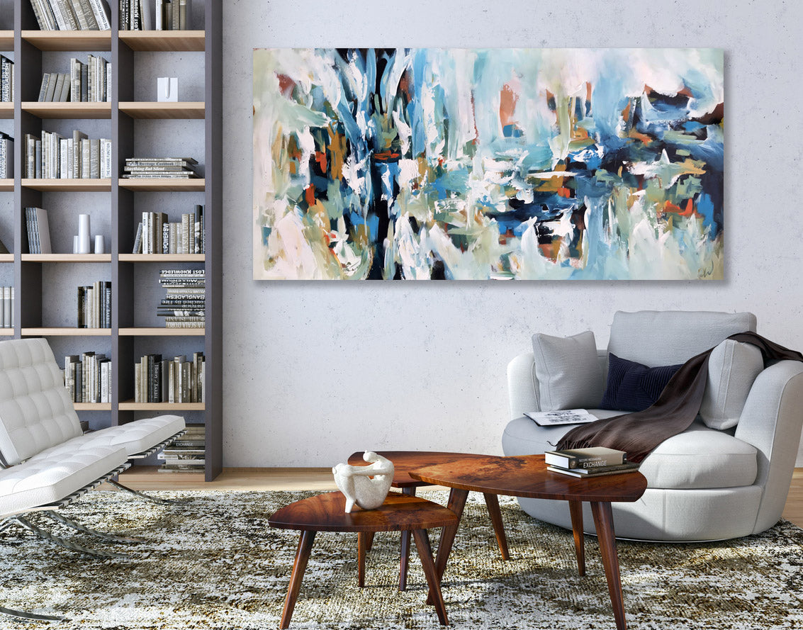 Caught In Silence- 152x76 cm - Original Painting-OmarObaid.com