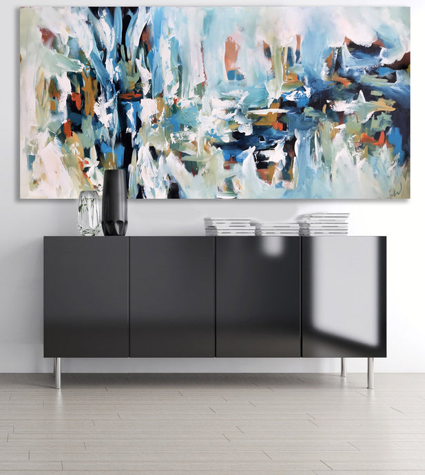 Caught In Silence- 152x76 cm - Original Painting - Abstract Art By Omar Obaid - OmarObaid.com