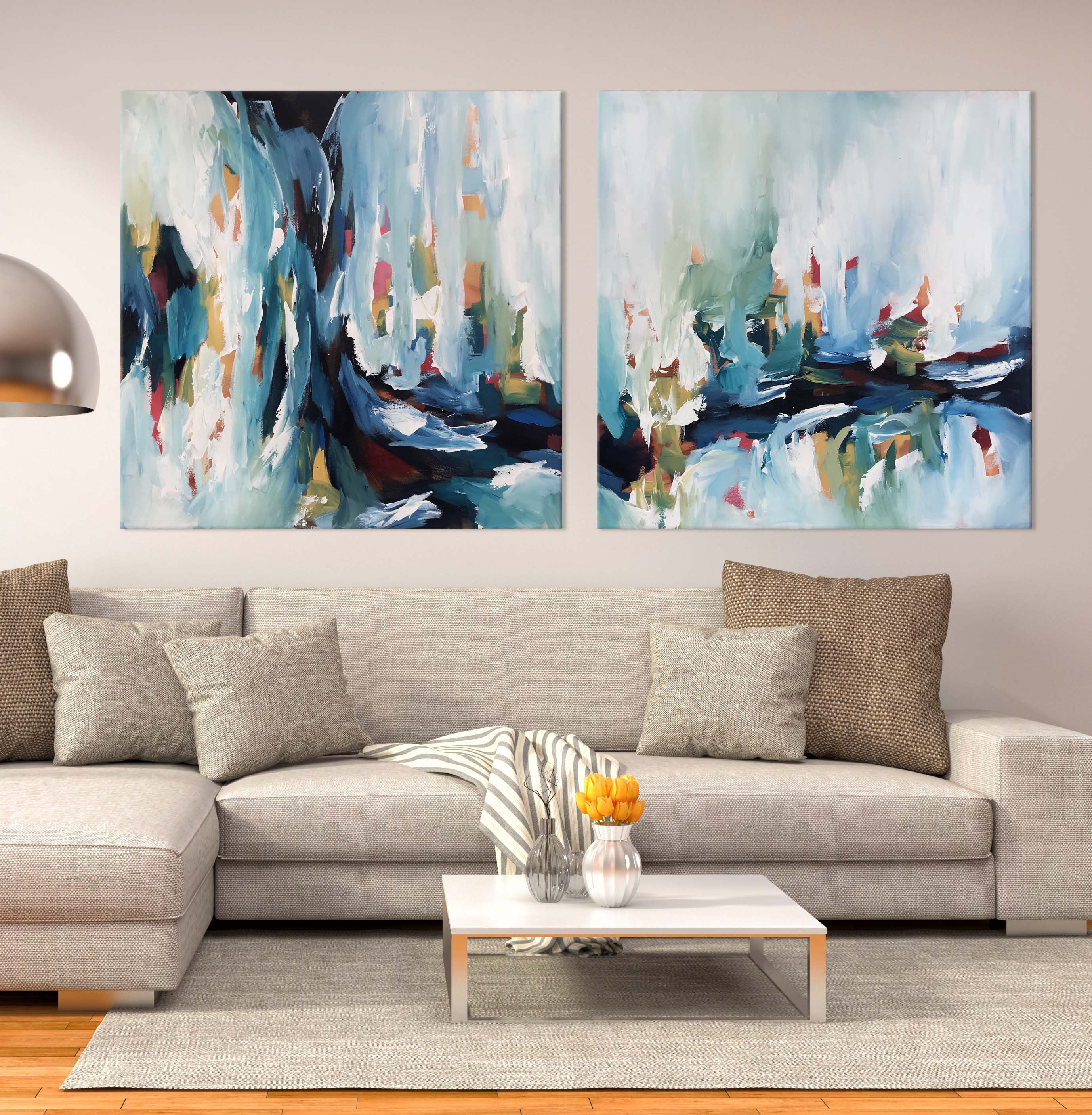 Daybreak 2 - Diptych 204x102 cm - Original Painting - Abstract Art By Omar Obaid - OmarObaid.com