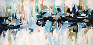 Rails At The River 2 - 152x76 cm - Original Painting