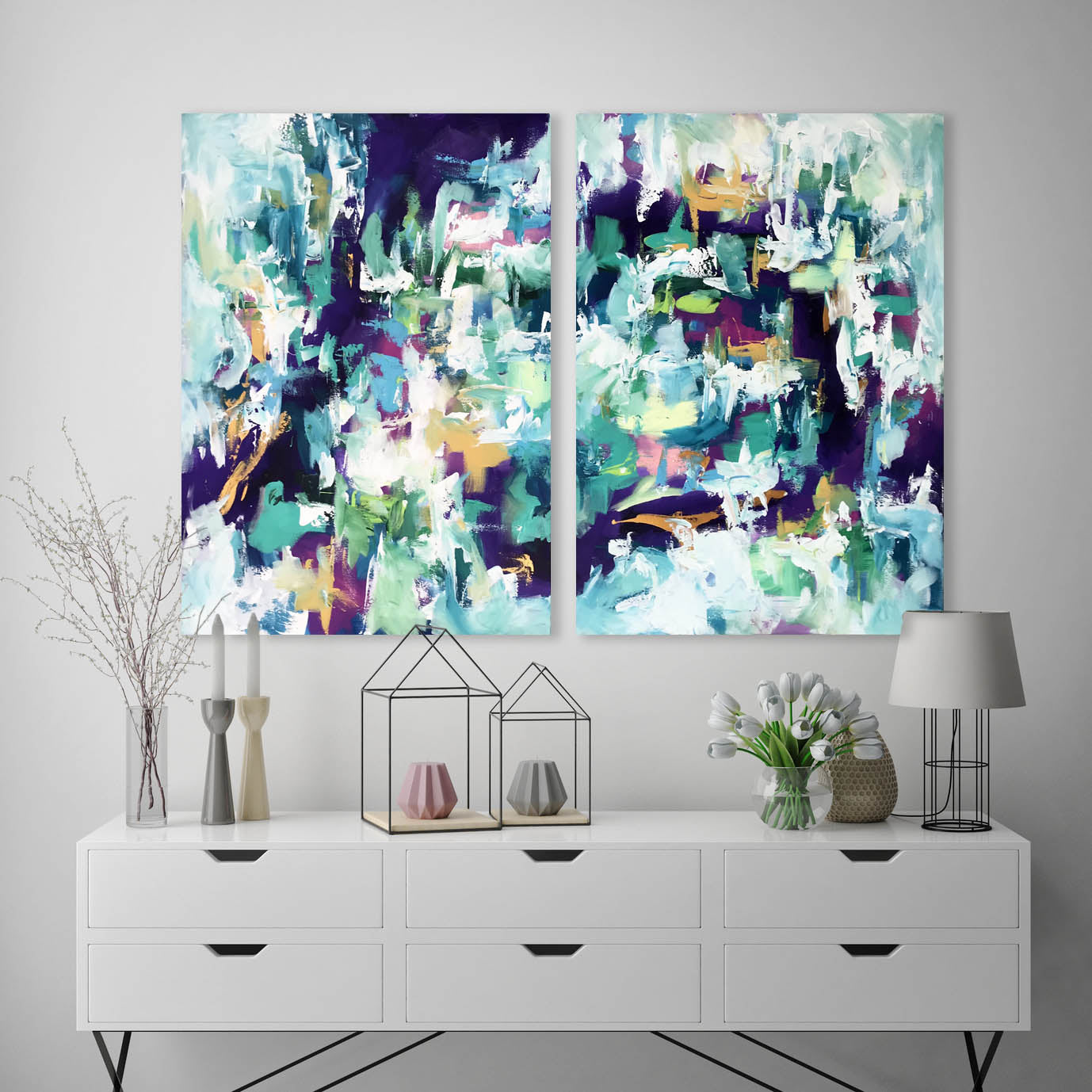The Finer Things - 152x102 cm - Diptych Original Painting-OmarObaid.com
