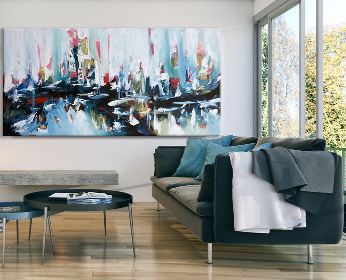 Under The Surface - 180x90 cm - Original Painting - Abstract Art By Omar Obaid - OmarObaid.com