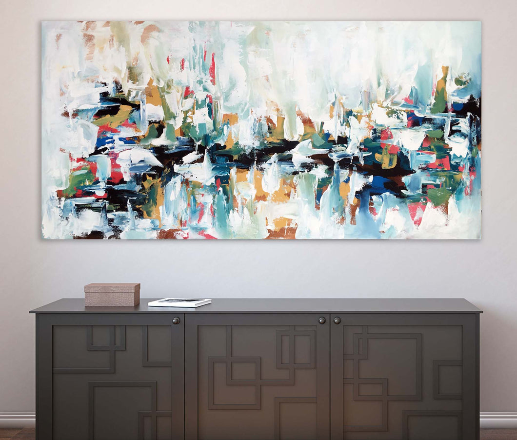 Decoherence - 152x76 cm - Original Painting - Abstract Art By Omar Obaid - OmarObaid.com