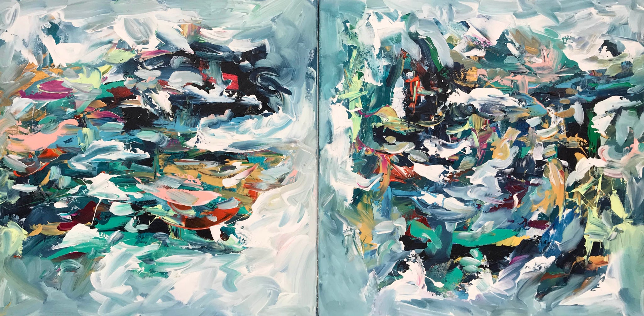 Untitled - 120x60 cm - Diptych Original Painting