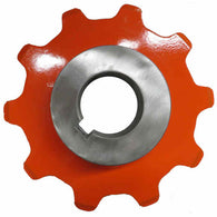 10 Tooth Plate Sprocket. 2.609 inch Pitch x 7/8 Plate with a weld in 1 7/16 inch bore hub