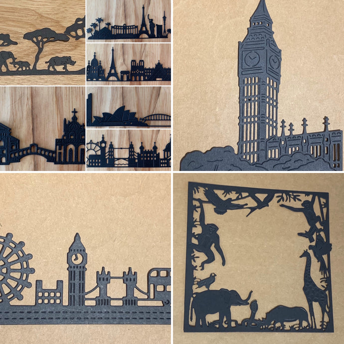 World Cities and Safari silhouette landscapes