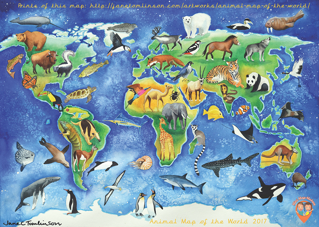 Mini Map-Makers 'Animal Map of the World' by Jane Tomlinson
